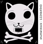 pirate cat flag - stock vector