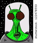 alien close-up with glass helmet and space suit - stock vector