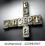 Idea concept, 3d vintage letterpress text - stock photo