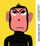 angry monkey - stock vector