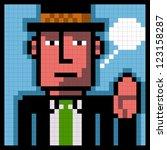 pixel man with hat saluting - stock vector