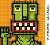 pixel monster saluting - stock vector
