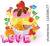 Valentine background with sweets, fruit, berries and ice cream and love, vector - stock vector