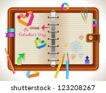 Personal organizer with different elements for Valentine design, vector - stock vector