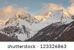 Hochgall Mountain, the highest peak of the Riesenfernergruppe mountain range, in South Tyrol, Italy, on a sunny winter day. - stock photo