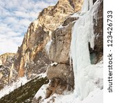 Frozen waterfall in the Alps, South Tyrol, Italy. - stock photo