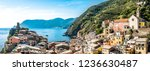 famous old town of Corniglia - cinque terre in italy - stock photo