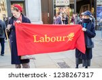 London, United Kingdom, November 17th 2018:- Labour party supporters at the Stand Up To Racism march through central London from the BBC to near Downing Street in Whitehall - stock photo