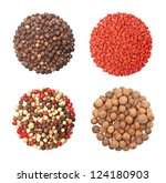 Set of four different spices round shape on white background - stock photo