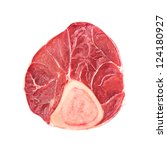 Photo of Veal sliced part of meat on white background - stock photo