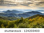 Blue Ridge Parkway National Park Sunrise Scenic Mountains Autumn Landscape near Asheville NC in western North Carolina - stock photo