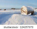 Bales of hay laying in the snow on farm field - stock photo