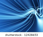 flowing lines on blue background - stock photo