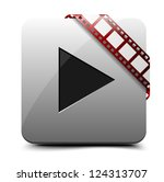 Watch video button - stock vector
