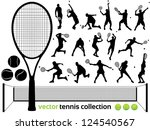 Tennis Players Silhouettes - Vector tennis collection.  (High Detail!) Check out my portfolio for other silhouettes. Enjoy - stock vector