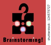 Conceptual brainstorming symbol composed by a puzzle piece and three human brains. They struggle to find the solution of their problems. The dots on I litters are two brains - stock photo