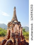 The famous ancient ruins temples of Indein in Myanmar, Asia - stock photo