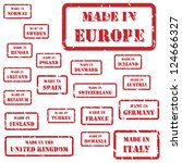 Set of red rubber stamps of Made In symbols for Europe and surrounds - stock photo