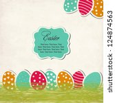 Vintage Easter card with eggs - stock vector