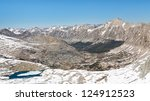 Kings Canyon National Park Scenery. View from Forester Pass in the Sierra Nevada, California, USA. - stock photo
