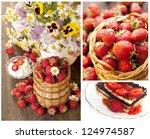 strawberry in  basket and  chocolate cake - stock photo