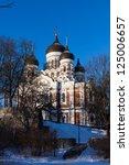 Alexander Nevsky Cathedral winter view - Tallinn, Estonia - stock photo