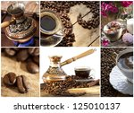 Copper Turk for coffee with ornaments basking in the heat, gas, food, - stock photo