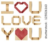I love you alphabet and red heart  recycled papercraft. - stock photo