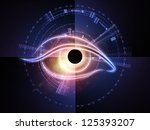 Arrangement of eye outlines, fractal and abstract design elements on the subject of modern technologies, mechanical progress, artificial intelligence, virtual reality and digital imaging - stock photo