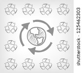 Cartoon Recycle Concept on Grey Gradient Background. Vector EPS 10. - stock vector