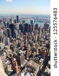 Vertical skyline of midtown Manhattan in New York City, United States - stock photo