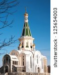 Construction of an Orthodox church. Kaliningrad, Russia - stock photo