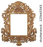 Old gilded wooden frame for mirrors - stock photo
