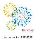 Japan origami fireworks shaped from flying birds - vector - stock vector