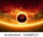 Abstract apocalyptic background - sunset on sea, red sky, exploding planet, end of world. Elements of this image furnished by NASA/JPL-Caltech - stock photo