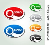 Vector search oval buttons, stickers with magnifier symbol - stock vector