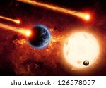 Abstract scientific background - asteriod impact planet earth, big sun, small exploding planet, red galaxy. Elements of this image furnished by NASA/JPL-Caltech - stock photo
