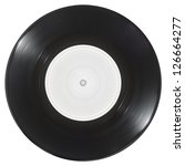 Vinyl Single 45rpm spinning isolated on white with clipping path - stock photo