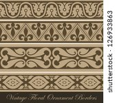 Vintage border seamless elements collection.  Vector abstract Floral ornament. Vector vintage collection - stock vector