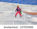 Girl on the ski - stock photo