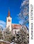 J�µel�¤htme church, winter shot in Estonia - stock photo