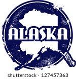 Vintage Style Alaska USA State Stamp - stock vector