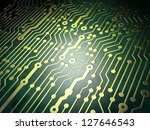 Technology concept: circuit board background, 3D render - stock photo