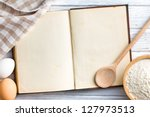 the old blank recipe book - stock photo