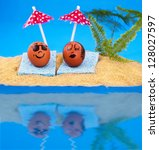 Easter island and pair easter eggs on vacation - stock photo