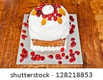 Christmas creamy cake with candieds from above - stock photo