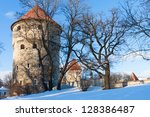 Winter view of fortress bastion towers Tallinn, Estonia - stock photo