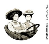 Vintage driving women in open car isolated - stock vector