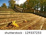 Autumn stairs in Berlin - stock photo