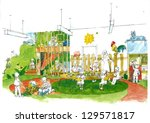 Colored pencil drawing of a daily situation at the kindergarten - stock photo